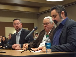 Michael Rondeau, CEO of Cow Creek Band of Umpqua Indians, right, addresses the State Land Board along with Chief Warren Brainard and Toby Luther, CEO of Lone Rock Timber, left.