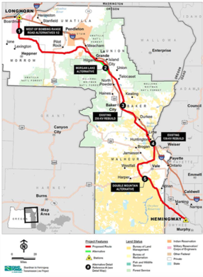The Boardman to Hemingway transmission route that was approved by the Bureau of Land Management. Its approval was announced on Nov. 17, 2017