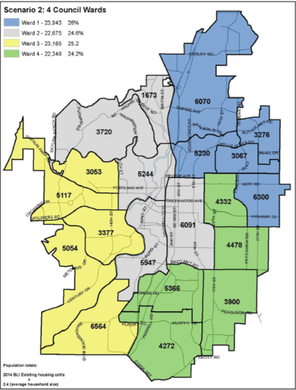 This map shows a proposed ward system for electing four of the six members of the Bend City Council.