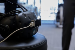 The HTC Vive headset usedduring a VR for pain management demo at Providence Gresham Rehab and Sports Therapy clinic.