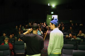 """EOFF co-founder and filmmaker Ian Clark (right) and director Pete Ohs at the opening night screening of Ohs's film """"Everything Beautiful Is Far Away."""""""