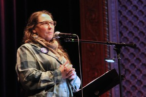 Fisherpoet powerhouse Moe Bowstern emcees the first ever FisherPoet poetry slam.