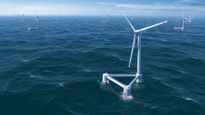 An illustration of floating offshore wind turbines