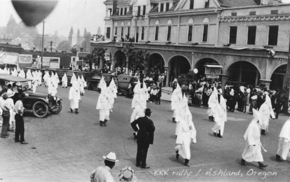 A Ku Klux Klan march in Ashland, Oregon, in 1920