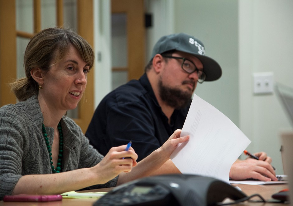 Willamette Week reporter Beth Slovic and Street Roots' Executive Director Israel Bayer prep ahead of Monday's mayoral debate. The debate was co-moderated by Slovic, Bayer and former Portland mayoral candidate Jefferson Smith.