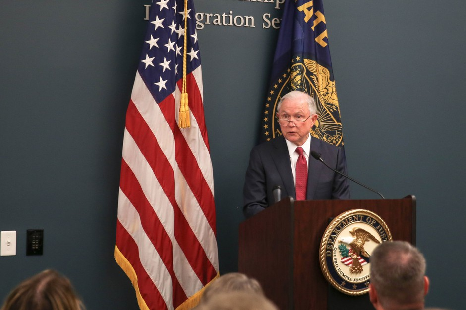 U.S. Attorney General Jeff Sessions addresses a room full of federal, state and local law enforcement officials and government employees at the U.S. Citizen and Immigration Services field office in Portland Tuesday, Sept. 19, 2017.