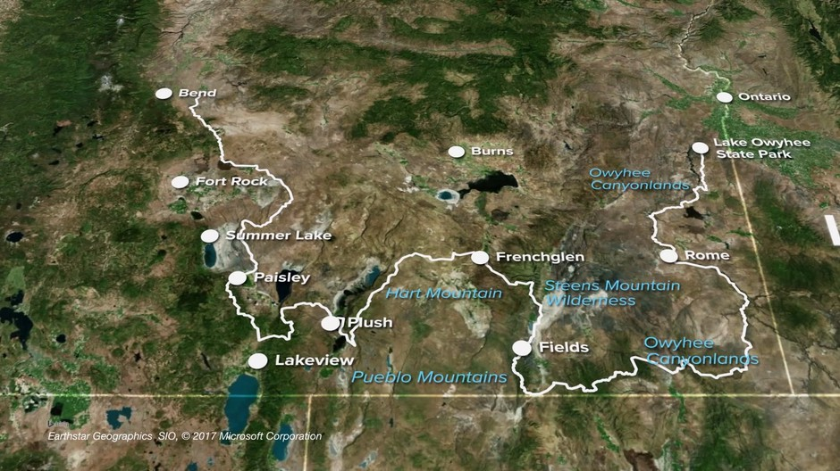 Map of the Oregon Desert Trail.